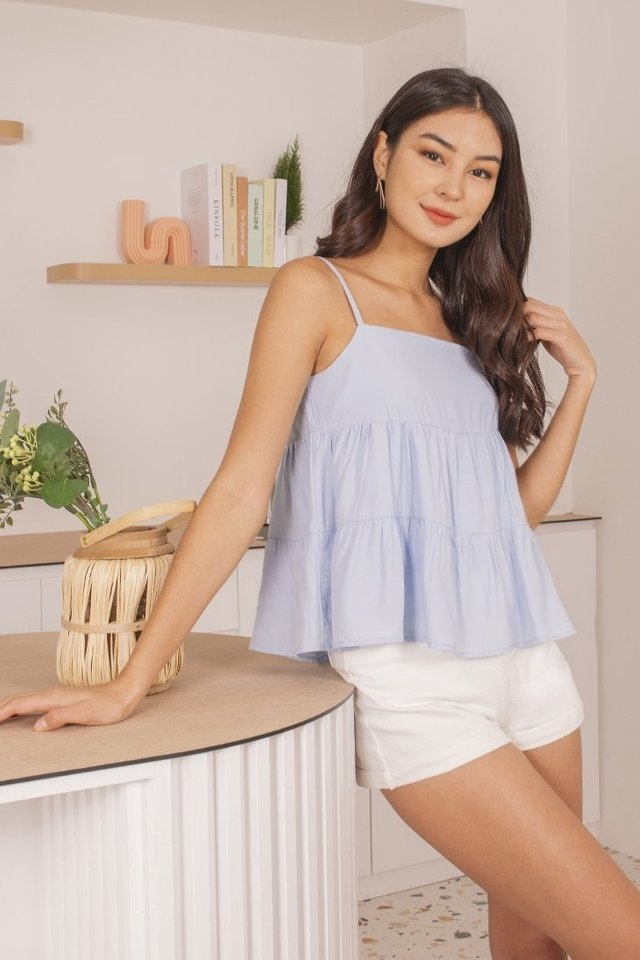 JOVIELLE TIERED BABYDOLL TOP #MADEBYLOVET (PASTEL BLUE)