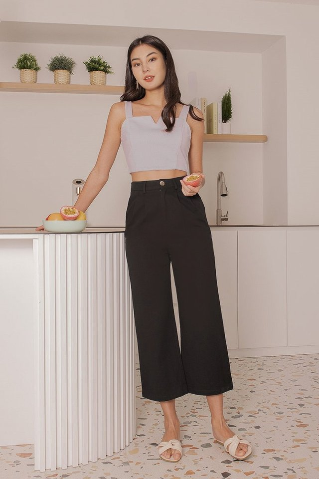 VANCE BASIC DENIM COTTON CULOTTES #MADEBYLOVET (BLACK)