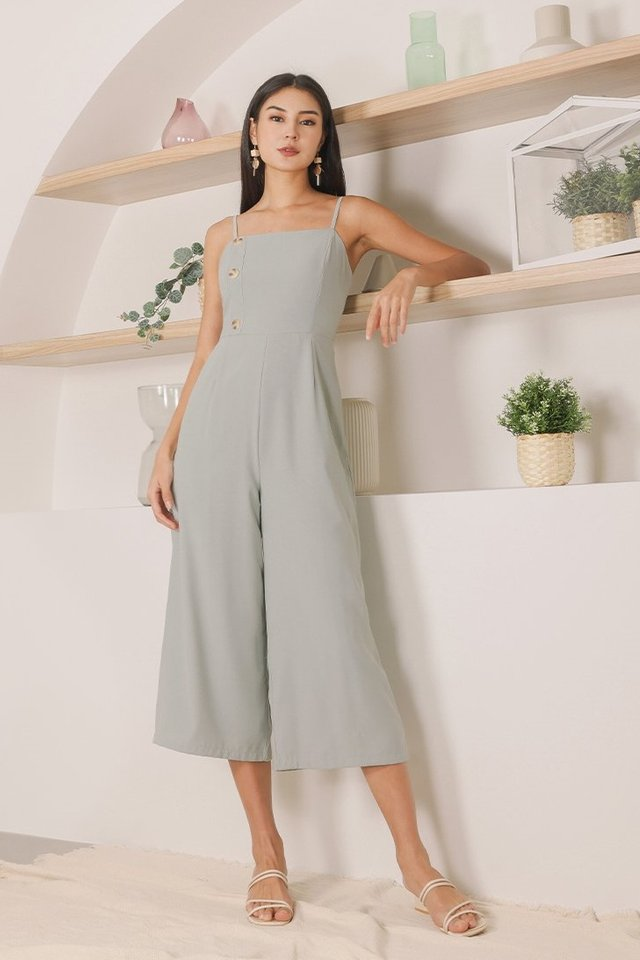 LYNETTE BUTTON JUMPSUIT #MADEBYLOVET (OCEAN SAGE)