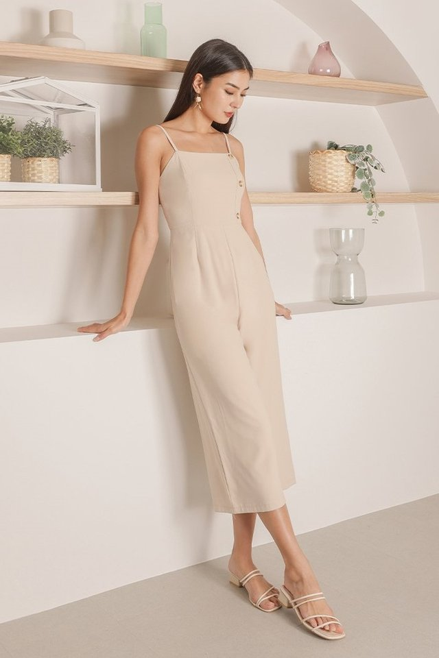 LYNETTE BUTTON JUMPSUIT #MADEBYLOVET (HONEY BEIGE)