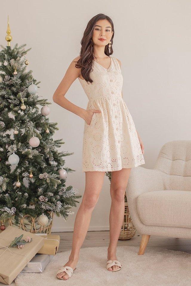 AMARYLLISE REMOVABLE RIBBON EYELET DRESS #MADEBYLOVET (PEACH)