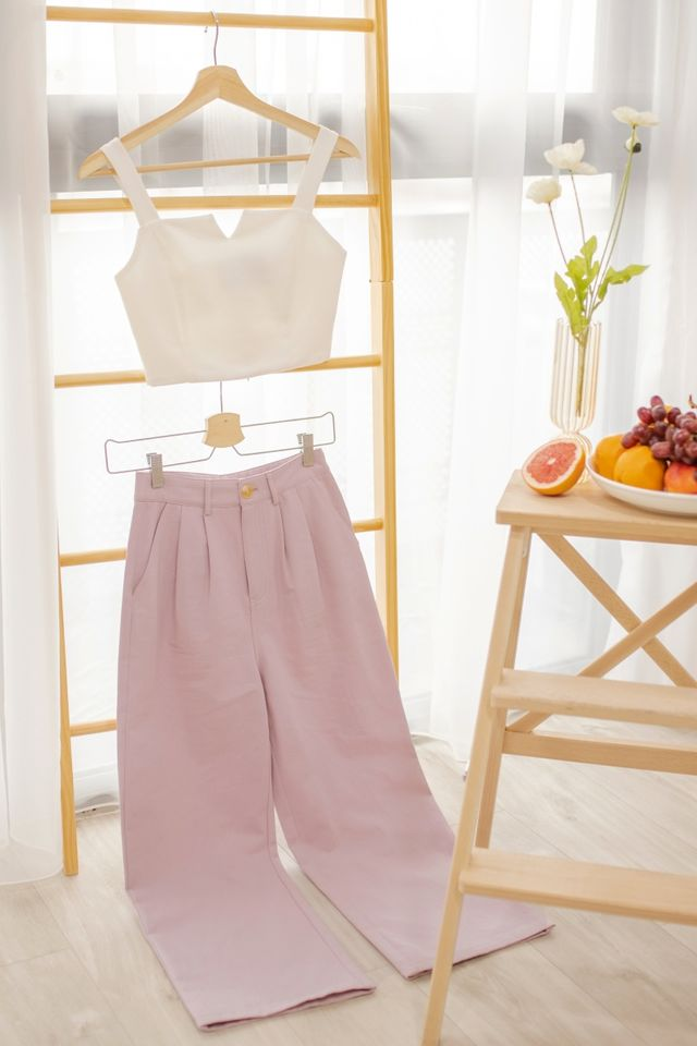 VANCE BASIC DENIM COTTON CULOTTES #MADEBYLOVET (LAVENDER PINK)