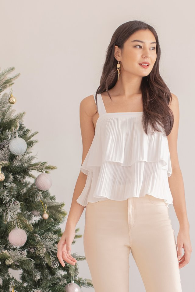 CLAIRYSE TIERED PLEATED TOP #MADEBYLOVET (WHITE)