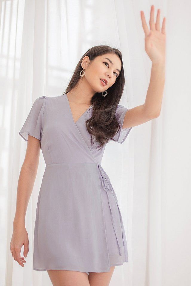 CAROLYN WRAP TIE-STRING ROMPER DRESS #MADEBYLOVET (DUSTY LILAC) *BACKORDER*