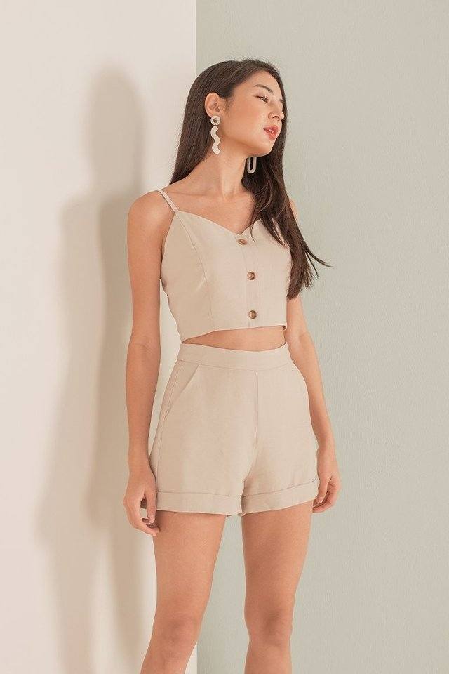 ERITY 2-PIECE BUTTON SHORTS SET #MADEBYLOVET (OATMEAL SAND)