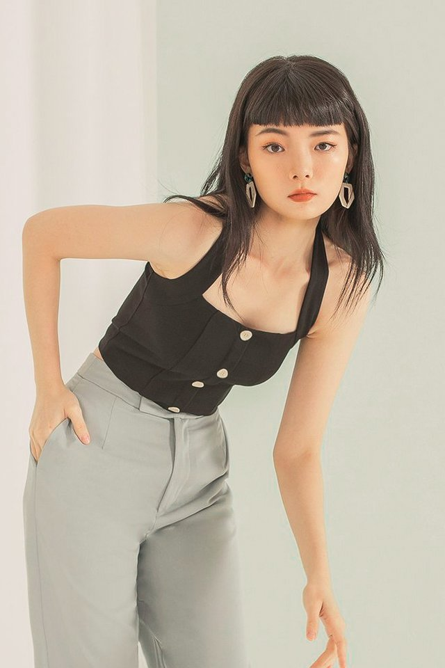 KAEDE BUTTON HALTER NECK TOP #MADEBYLOVET (BLACK)