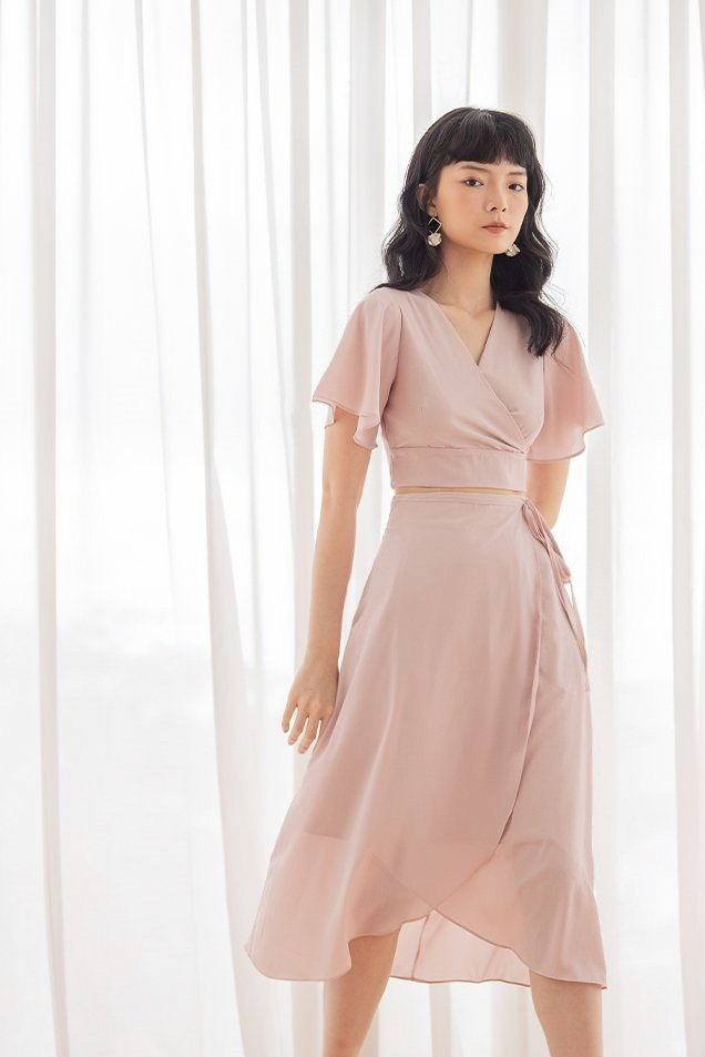 VALENTINA KIMONO 2-PIECE SKIRT SET #MADEBYLOVET (GENTLE BLUSH)