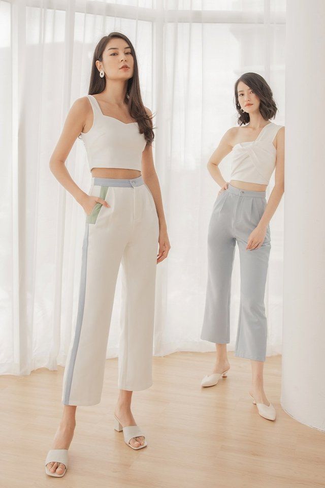 LEIGHTON COLOURBLOCK CONTRAST PANTS #MADEBYLOVET (WHITE)
