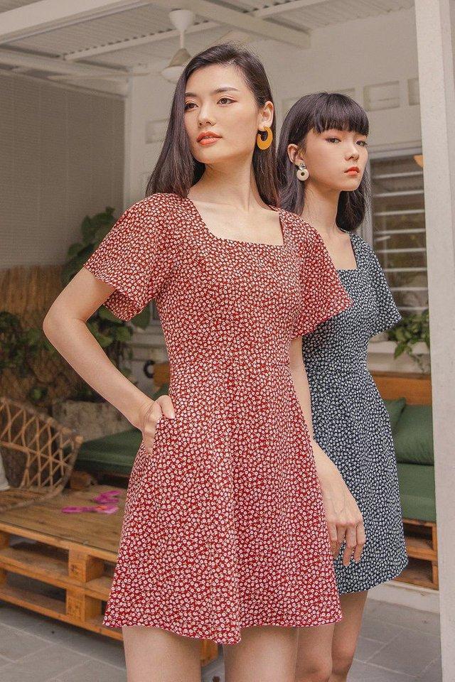 TASHA DITSY FLORAL ROMPER DRESS #MADEBYLOVET (SCARLET RED)