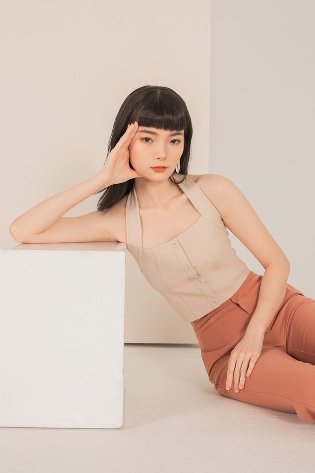 KAEDE BUTTON HALTER NECK TOP #MADEBYLOVET (SAND)