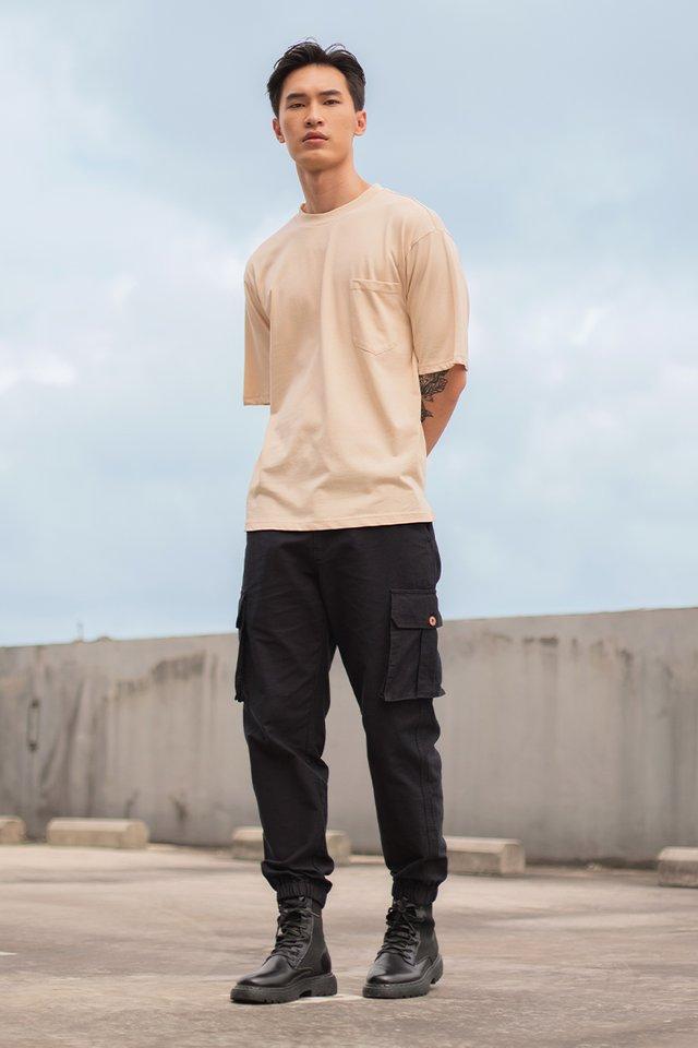 LUCAS POCKET CARGO PANTS #MADEBYLOVET (BLACK)