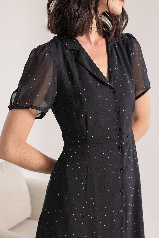 JOBELLE POLKA DOT DRESS #MADEBYLOVET (BLACK)