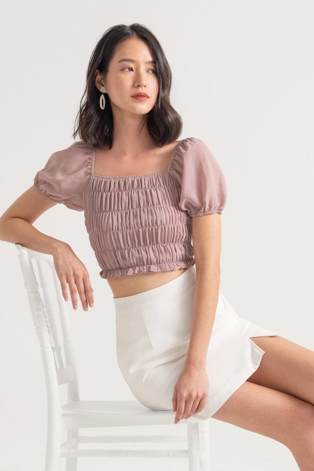 SOLACE 2-WAY SMOCKED TOP #MADEBYLOVET (BERRY ROSE)