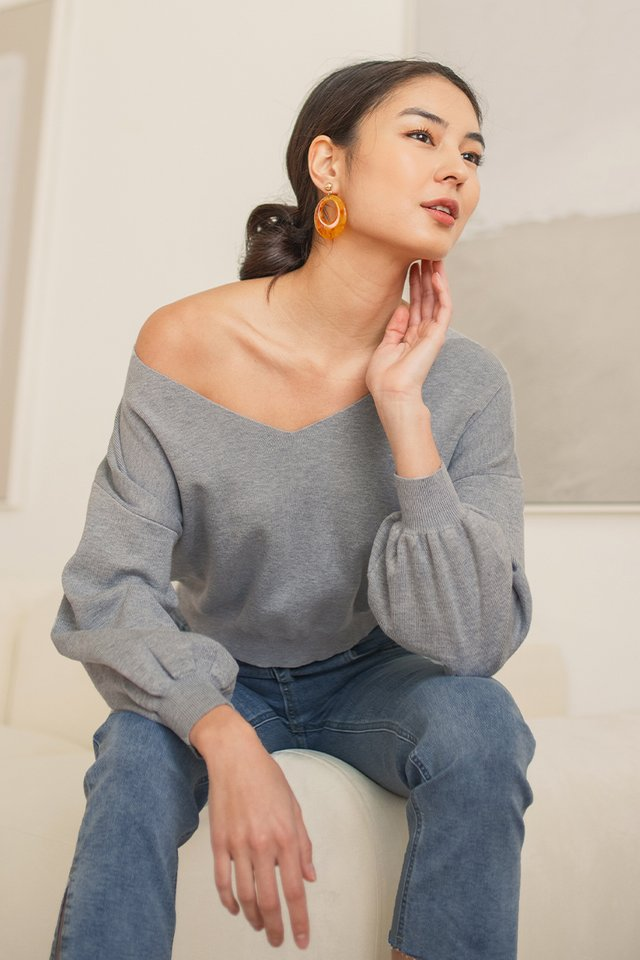 NOEMI SLOUCHY PULLOVER KNIT TOP #MADEBYLOVET (HEATHER GREY)