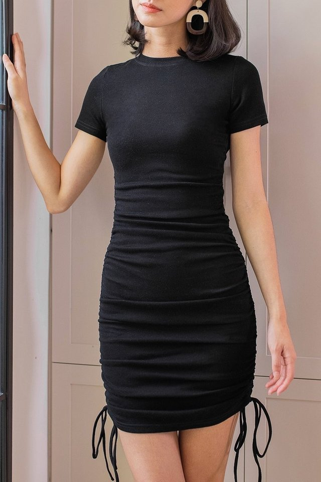 IXORA KNITTED RUCHED DRESS #MADEBYLOVET (BLACK)