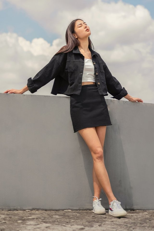HAVANA UTILITY 2-PIECE JACKET SKIRT SET #MADEBYLOVET (BLACK)