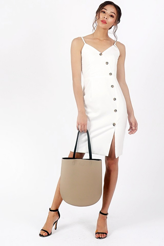 MAGELYN BUTTON DOWN SIDE SLIT DRESS (WHITE)