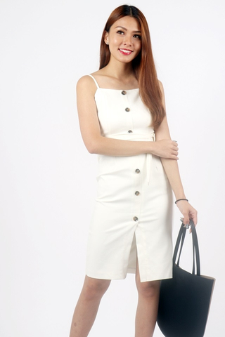 KINSLEY BUTTON DOWN SLIT DRESS WITH SASH (WHITE)