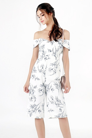 MARISSA FLORAL OFF-SHOULDER CULOTTE JUMPSUIT (WHITE)