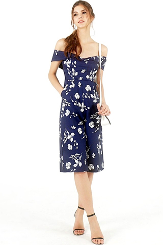 MARISSA FLORAL OFF-SHOULDER CULOTTE JUMPSUIT (NAVY)