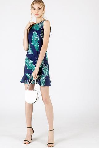 PALM FLORAL TRUMPET SHIFT DRESS (NAVY)