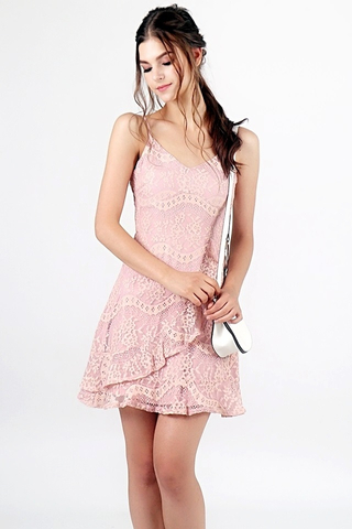 BELLA FLIRTY RUFFLES LACE DRESS (DUSTY PINK)