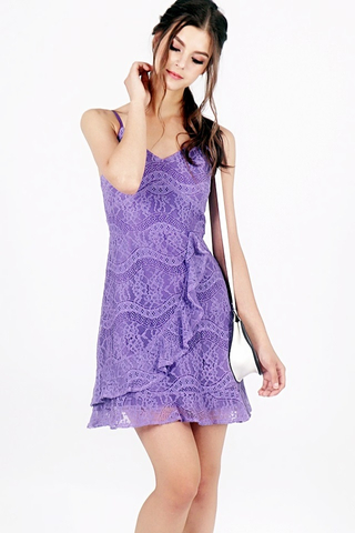 BELLA FLIRTY RUFFLES LACE DRESS (PURPLE)