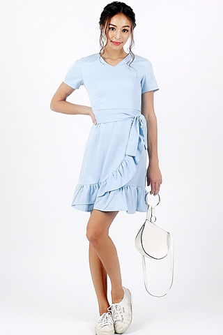 MISHA RUFFLES STRIPE DRESS WITH SASH (LIGHT BLUE)