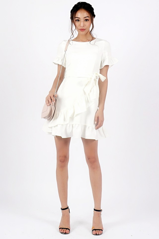 BRIELLE PASTEL RUFFLE DRESS WITH SASH #MADEBYLOVET (WHITE)