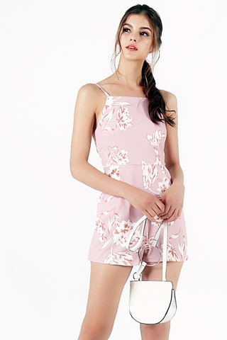 FAITH FLORAL CUT-IN ROMPER (MAUVE PINK)