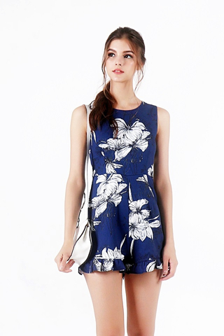 LILY FLORAL ROMPER (NAVY)