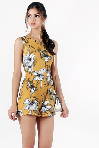 LILY FLORAL ROMPER (MUSTARD)