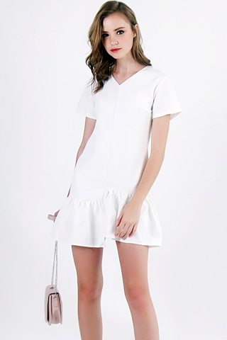 FREDA ASYMMETRICAL FLARE DRESS (WHITE)