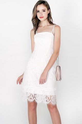 CASEY A-LINE EYELET LACE DRESS (WHITE)