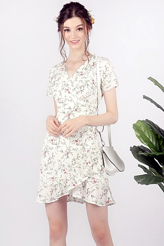 GWENDOLYN FLORAL V-NECK RUFFLES DRESS (WHITE)