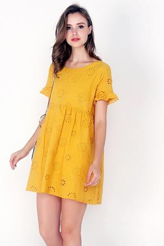 MIA EYELET BABYDOLL DRESS (MARIGOLD)