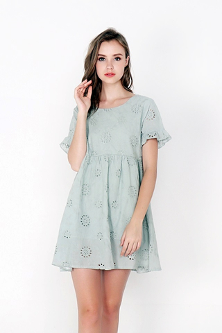MIA EYELET BABYDOLL DRESS (JADE)