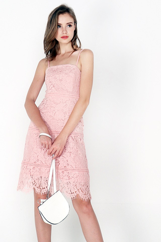 CASEY A-LINE EYELET LACE DRESS (BLUSH PINK)