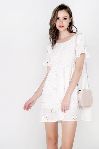 MIA EYELET BABYDOLL DRESS (WHITE)