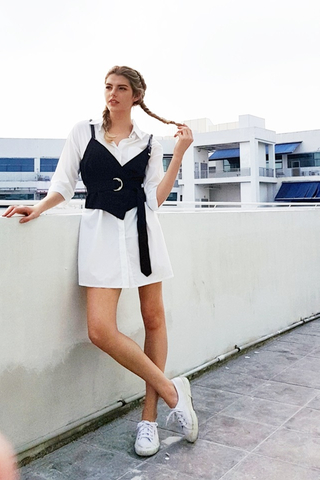 2-PIECE BELTED VEST SHIRT DRESS