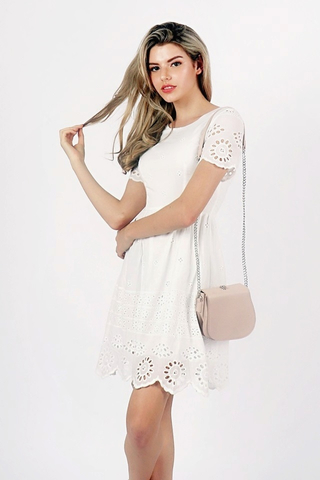 PENNY CROCHET EYELET DRESS (WHITE)