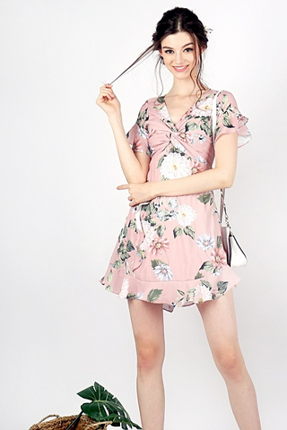 MABEL FLORAL TWISTED KNOT RUFFLES DRESS (DUSTY PINK)