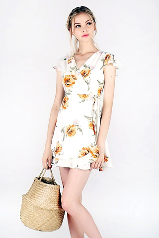 LILIANA FLORAL RUFFLES TIE-STRING WRAP DRESS #MADEBYLOVET (WHITE)