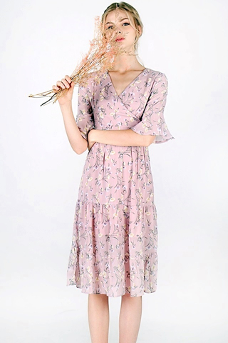 TESSA FLORAL V-NECK KIMONO MIDI DRESS (DUSTY PINK)