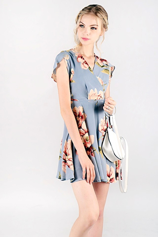 AUBREE FLORAL V-NECK WRAP DRESS #MADEBYLOVET (GREY BLUE)