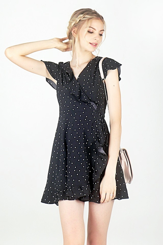 POLKA DOT TIE-STRING RUFFLES WRAP-DRESS #MADEBYLOVET (BLACK)