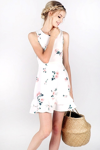 ROSALIE FLORAL LAYERED DRESS (WHITE)