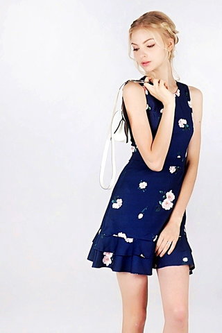 ROSALIE FLORAL LAYERED DRESS (NAVY)