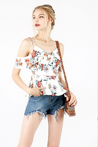 RUPERT FLORAL DROP-SHOULDER PEPLUM TOP (WHITE)