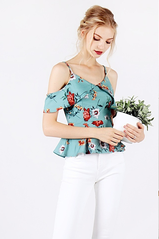 RUPERT FLORAL DROP-SHOULDER PEPLUM TOP (JADE)